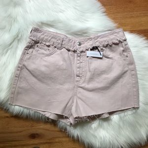 NWT Topshop Pink Mom High Waisted Jean Shorts